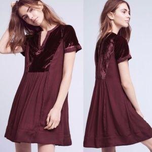 Anthropologie Maeve Ingrid Purple Velvet Dress